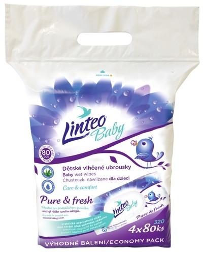 Vlhčené ubrousky LINTEO BABY Pure & fresh - 4x80 ks v bal.