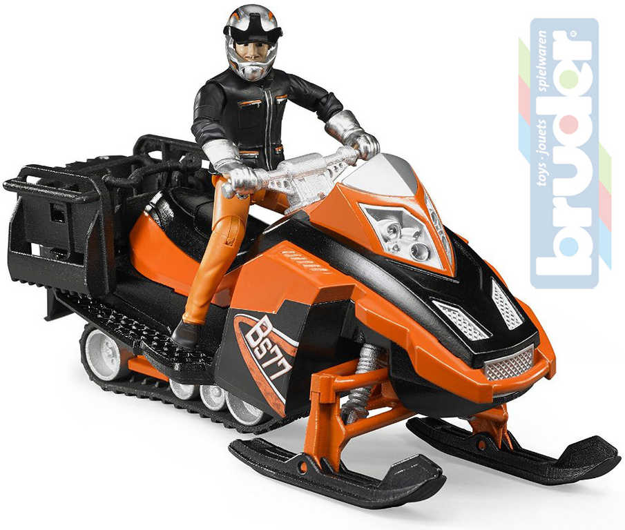 BRUDER 63101 Model 1:16 sněžný skútr 21cm set s řidičem plast
