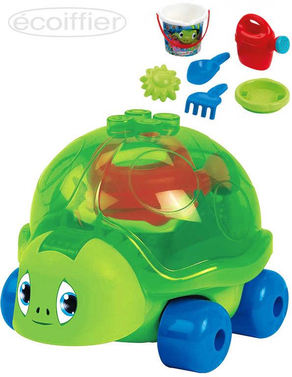 ECOIFFIER Baby set na písek želva na kolečkách s konvičkou a nástroji