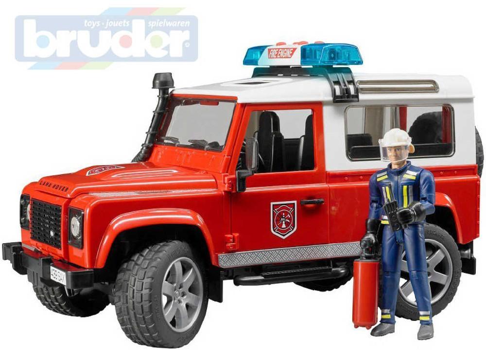 BRUDER 02596 Auto Land Rover hasiči set s figurkou a doplňky Světlo Zvuk
