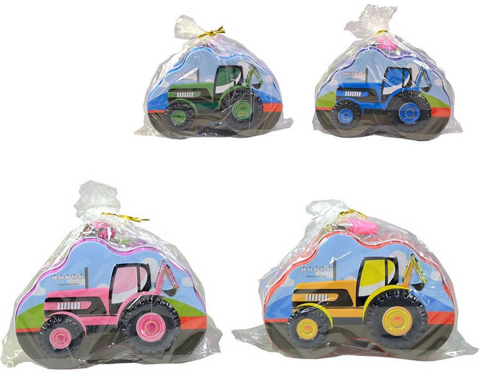 Pokladnička traktor dětská kovová kasička 4 barvy v sáčku