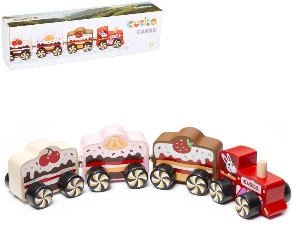 CUBIKA DŘEVO Magnetický vláček sladkosti set mašinka + 3 vagonky