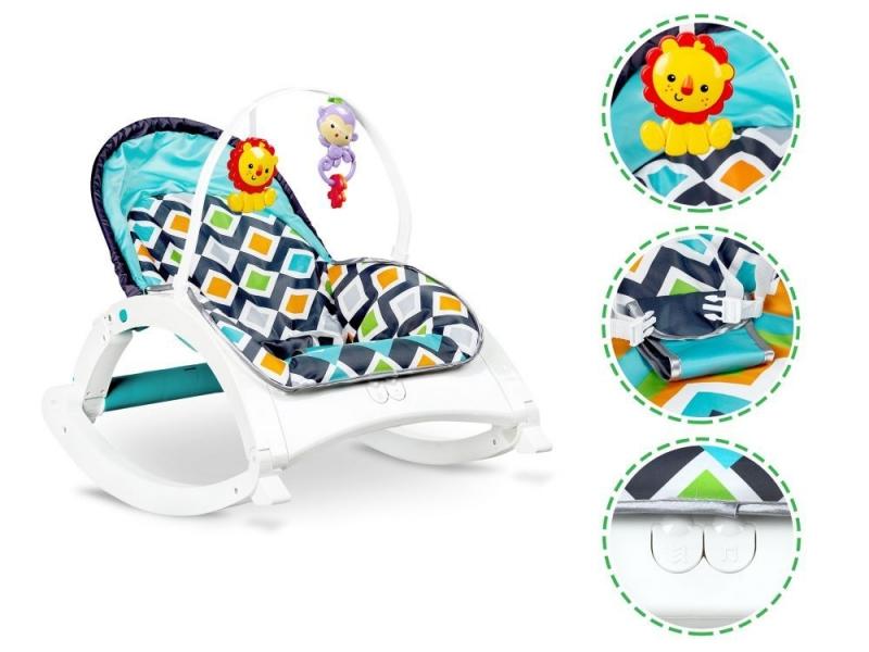 Eco toys Multifunkční lehátko 3v1, kolébka s vibrací a hudbou - modré