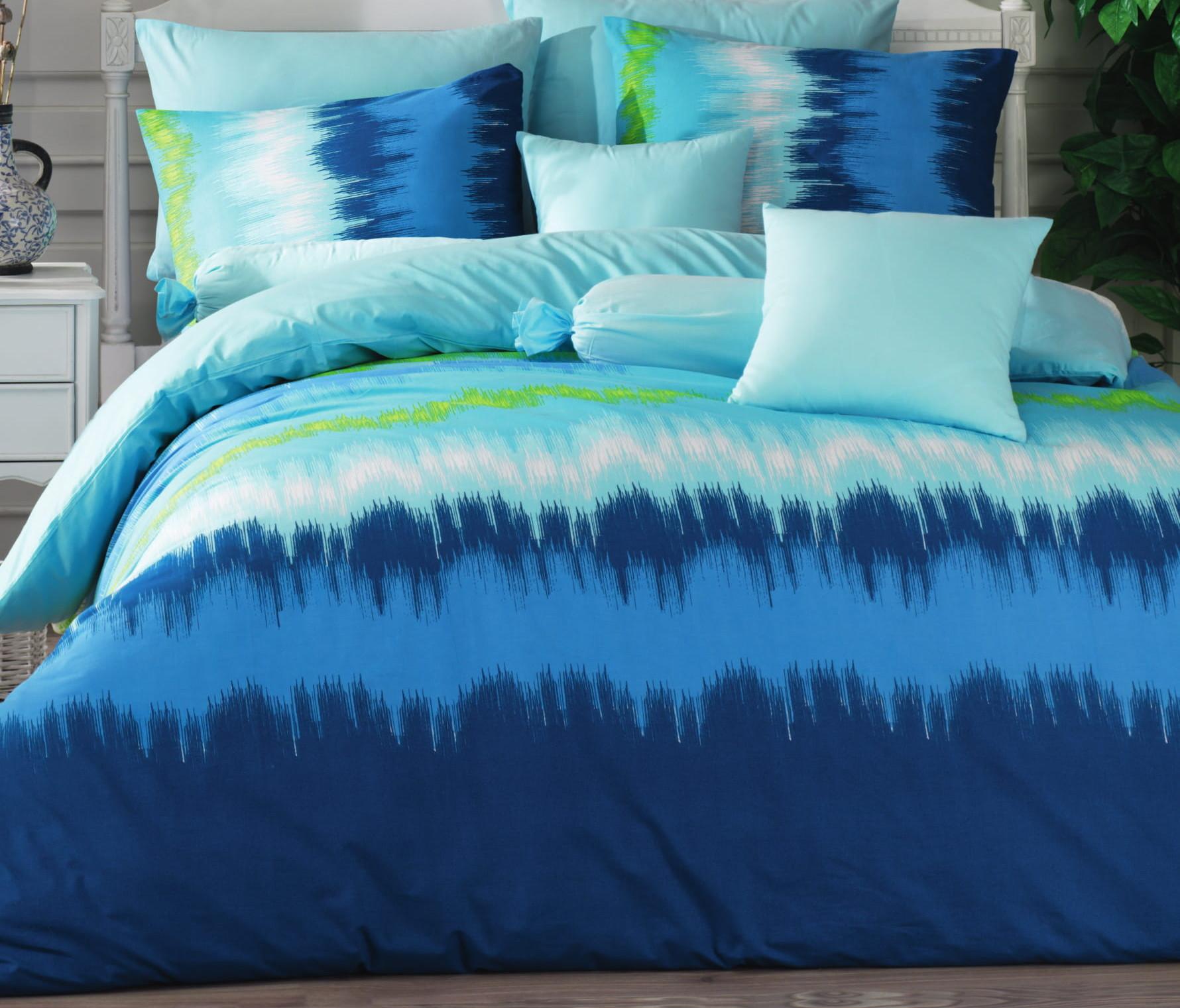 Povlečení bavlna 140x200, 70x90cm Picaso blue, Výběr zapínání: