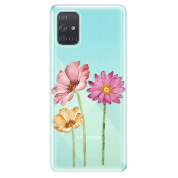 Odolné silikonové pouzdro iSaprio - Three Flowers - Samsung Galaxy A71