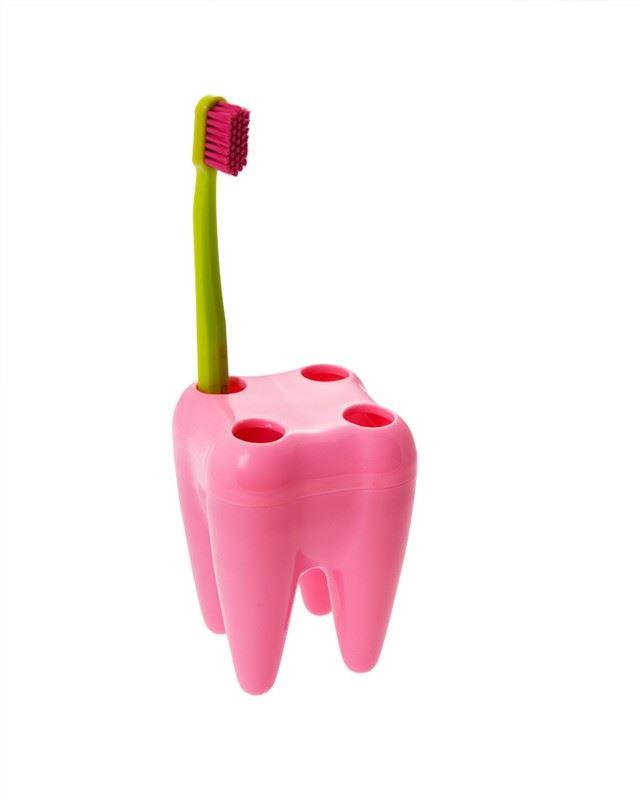 Zub - držák na kartáčky - růžový