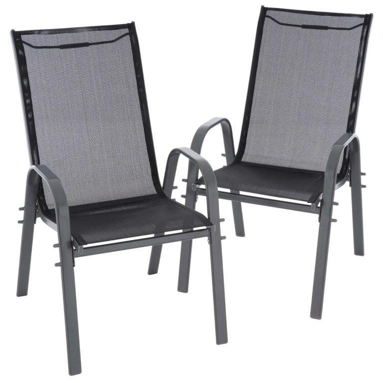 Sada 2 ks zahradních stohovatelných židlí - černá