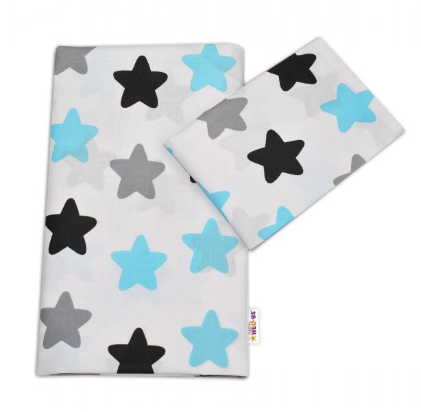 Bavlněné povlečení - Barevné hvězdičky - modré - 120x90