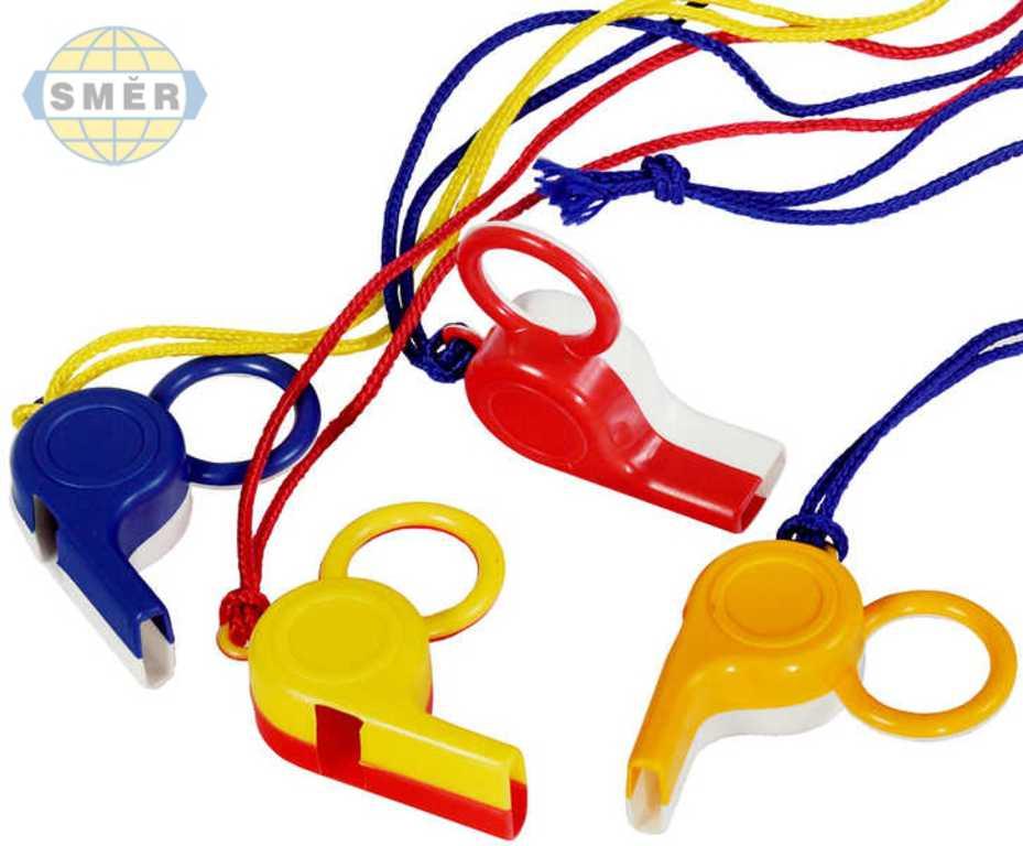 SMĚR Píšťalka soudcovská s kroužkem na prst 4 barvy plast