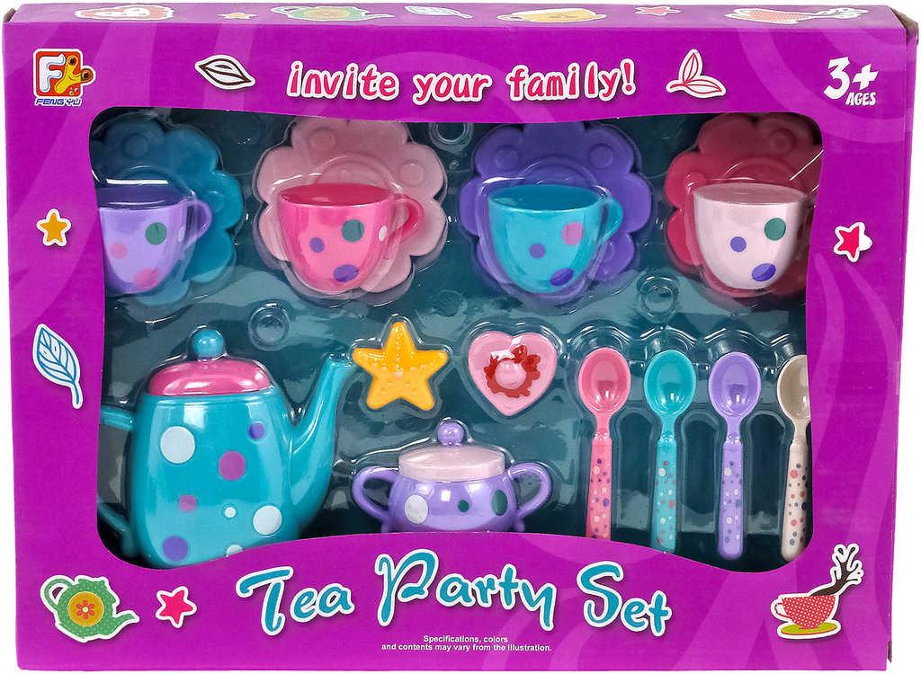 Čajový servis barevný plastový set 16ks dětské nádobíčko v krabici