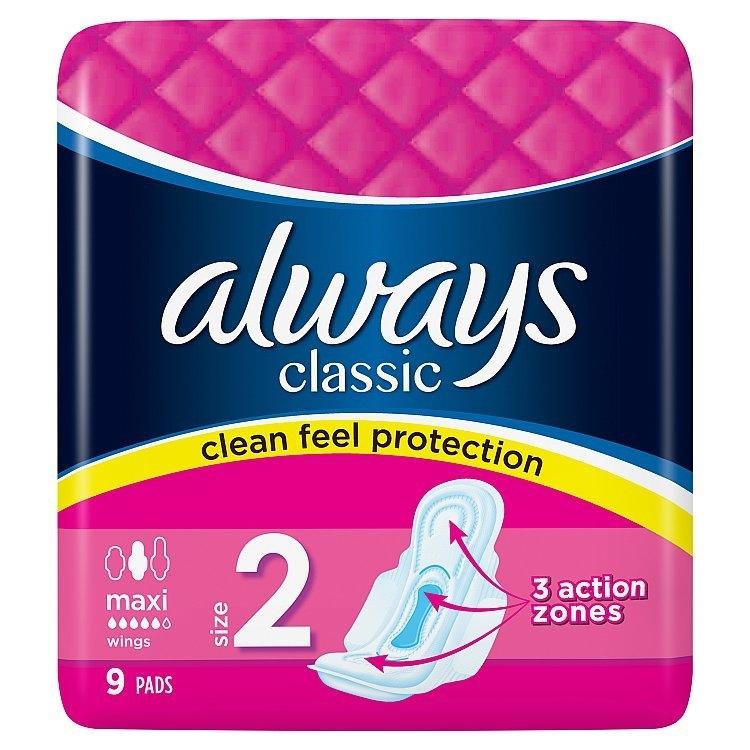 Classic Maxi hygienické vložky s křidélky 9 ks/bal.