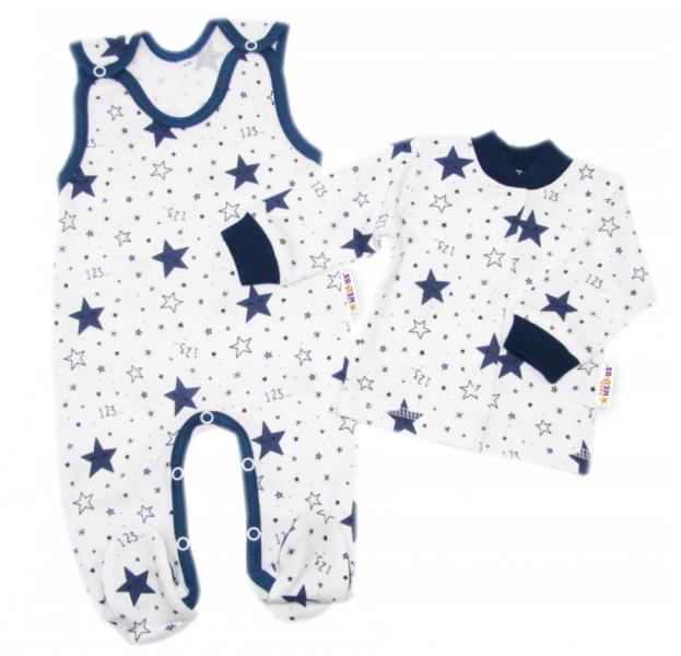 Baby Nellys 2-dílná sada, bavlněné dupačky s košilkou Galaxie