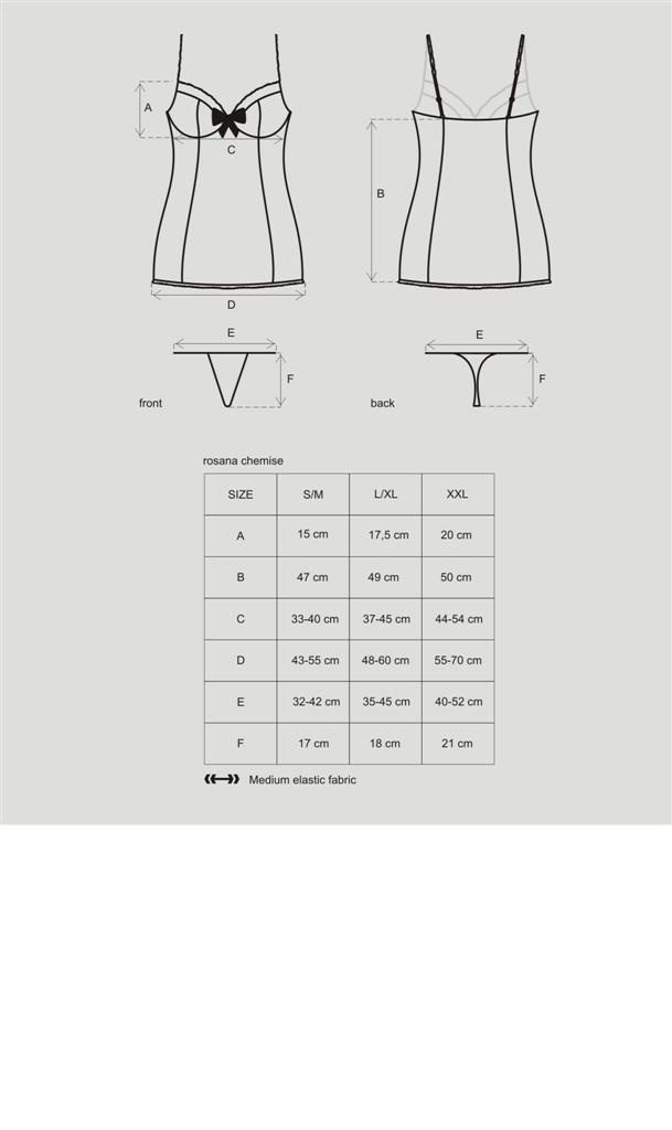 Košilka Obsessive Rosana chemise XXL - Černá XXL