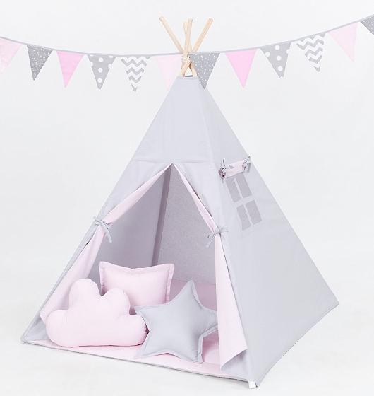 Stan pro děti teepee, týpí bez výbavy - šedý / světle růžový