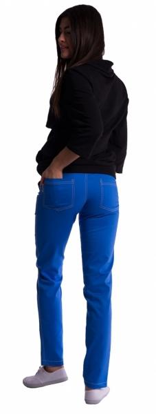 Těhotenské kalhoty s mini těhotenským pásem - modré