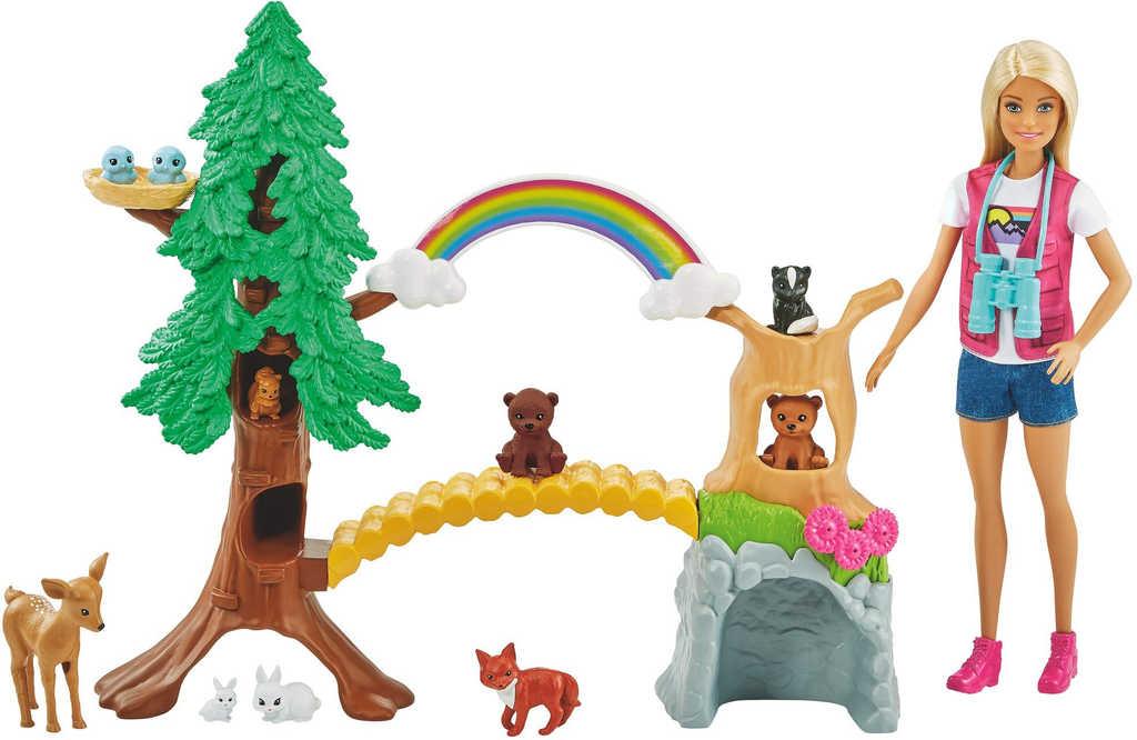 MATTEL BRB Panenka Barbie průzkumnice set se zvířátky a doplňky