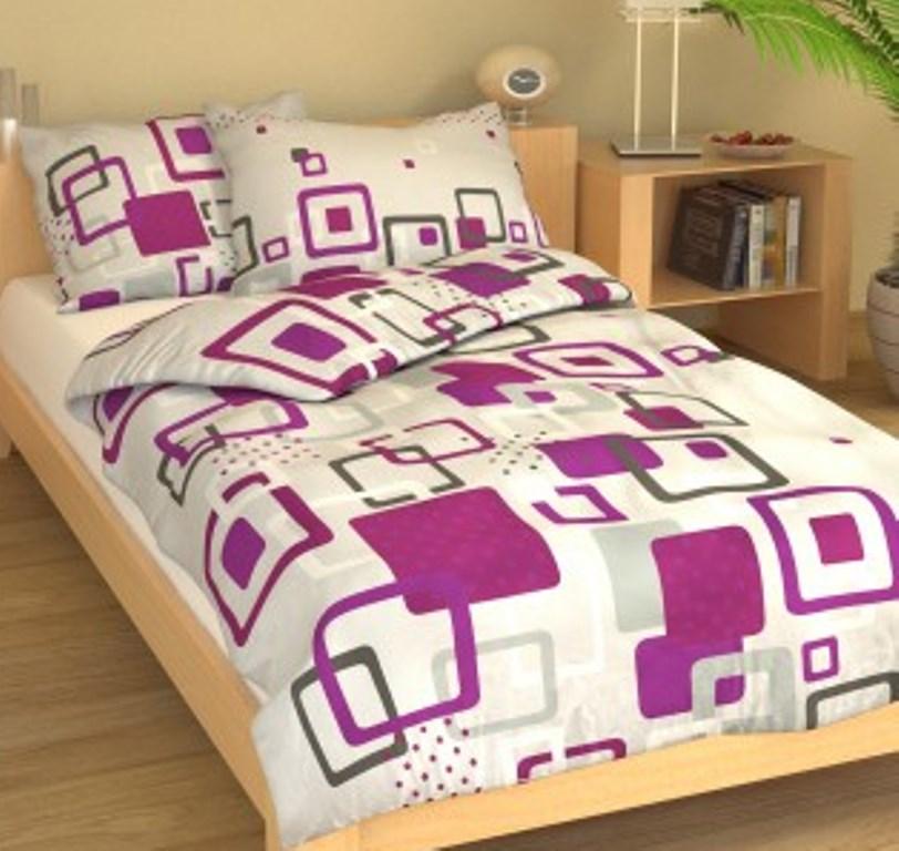 Povlečení francouzské bavlna 240x220, 70x90 Hlavolam fialový, Výběr zapínání: