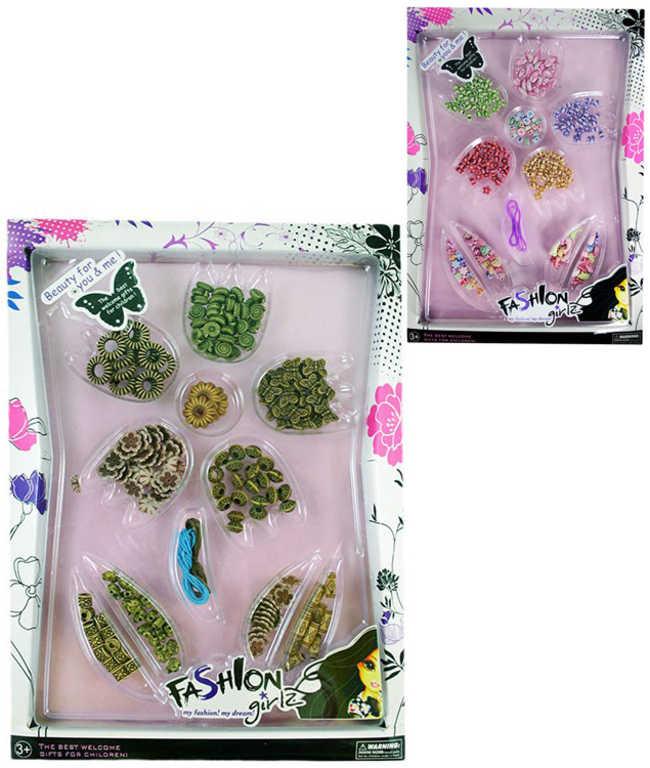 Sada kreativní korálky plastové k navlékání dětská bižuterie 2 druhy