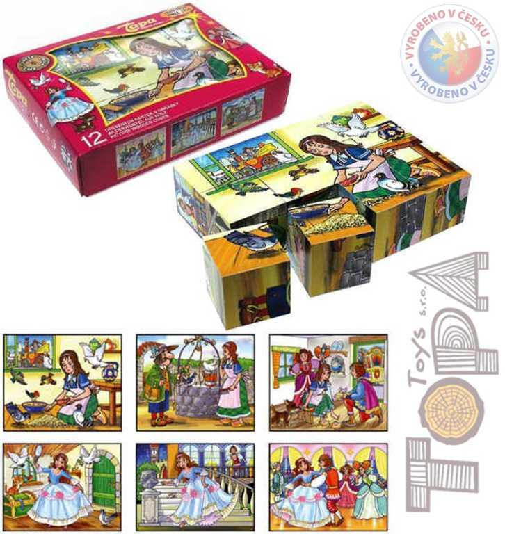 TOPA DŘEVO Kostky (kubus) Popelka 12 ks v krabičce *DŘEVĚNÉ HRAČKY*