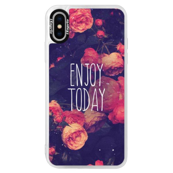 Neonové pouzdro Pink iSaprio - Enjoy Today - iPhone XS
