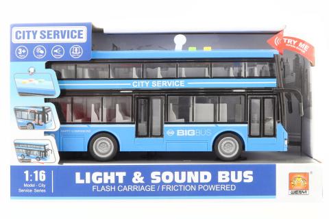 Autobus dvoupatrový modrý na baterie