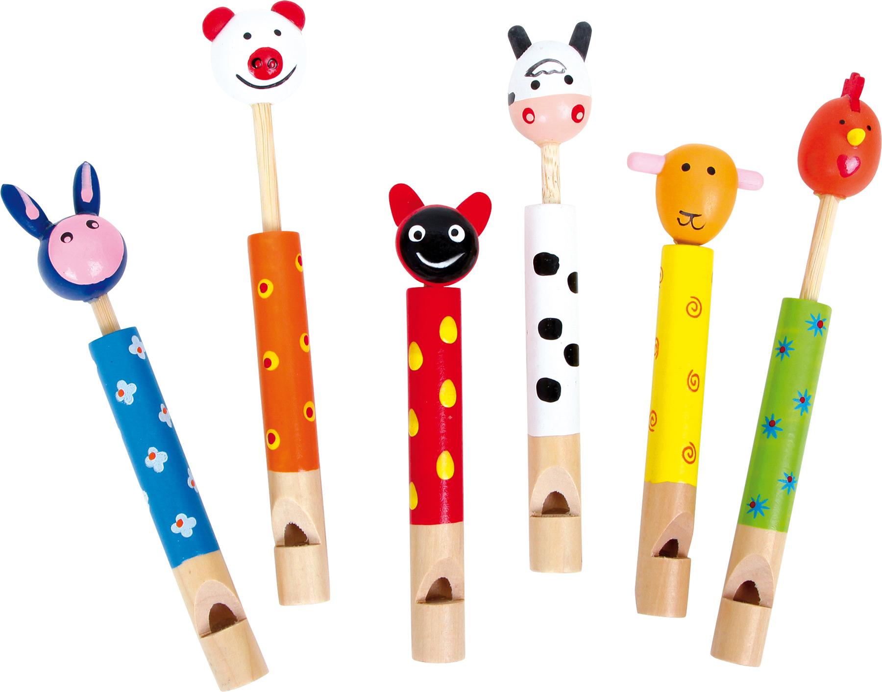Dětská dřevěná píšťalka zvířátka 1ks žlutá