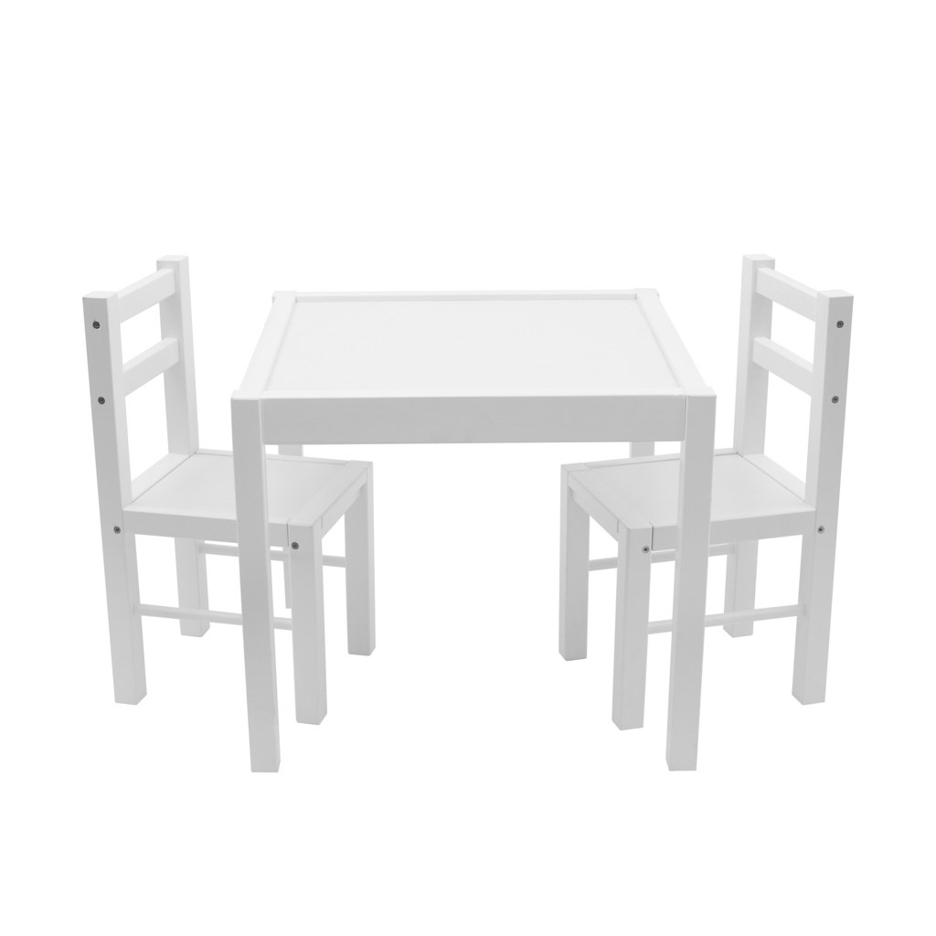 Dětský dřevěný stůl s židličkami New Baby PRIMA - bílá