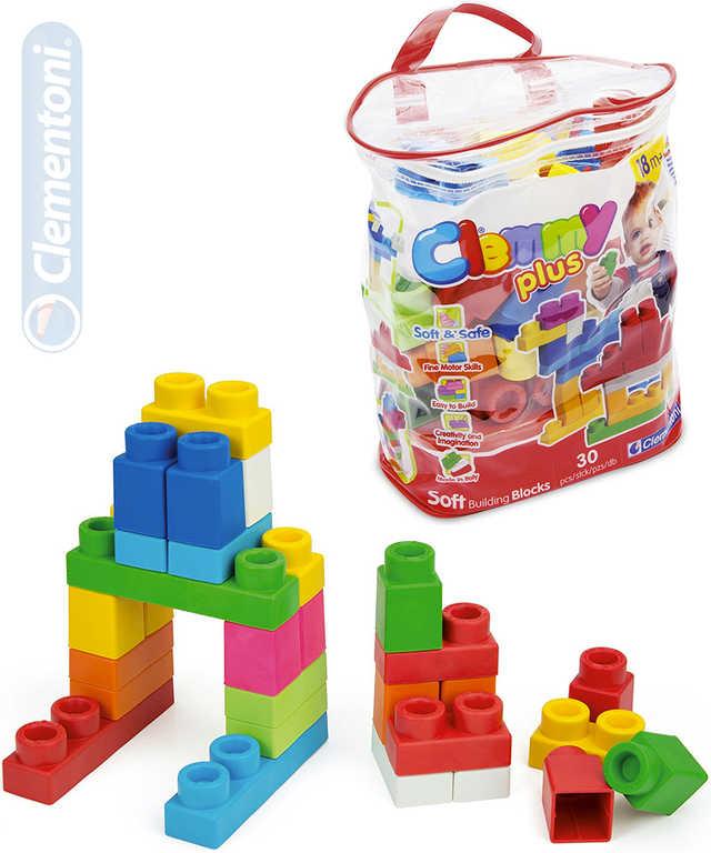 CLEMENTONI Clemmy Plus baby set kostky gumové 30ks měkké velké dílky v plastové tašce