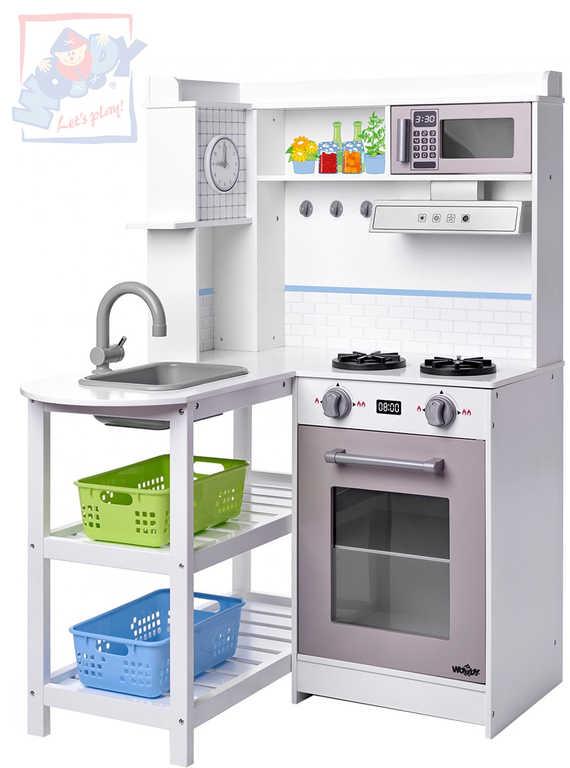 WOODY Kuchyňka dětská rohová bílá set s plastovými koši na baterie Světlo Zvuk