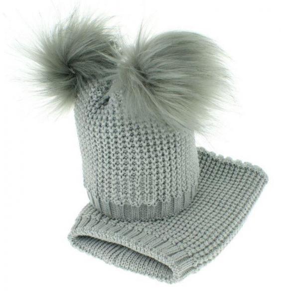 BABY NELLYS Zimní čepička s komínkem - chlupáčkové bambulky - šedá - 12/24měsíců