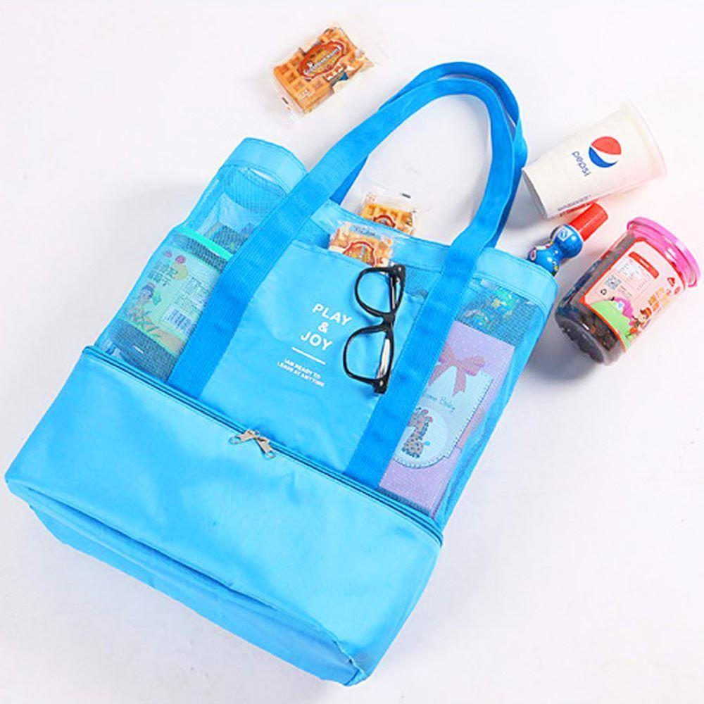 Plážová taška s termo přihrádkou - modrá