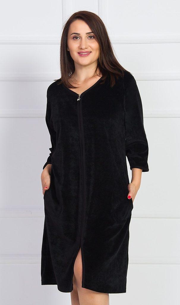 Dámské domácí šaty s tříčtvrtečním rukávem Gabriela - černá