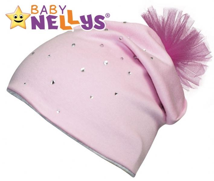 Bavlněná čepička Tutu květinka s kamínky Baby Nellys ® - sv. růžová - 48/50 čepičky obvod