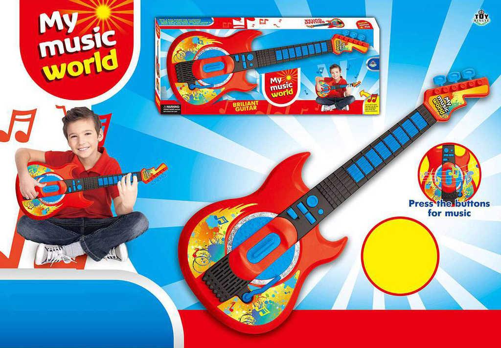 Kytara rocková dětská 57cm s melodií na baterie Světlo Zvuk plast
