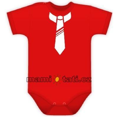 Body kr. rukávek s potiskem kravaty - červené