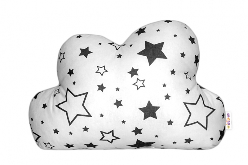 Mráček - dekorační polštářek - černé hvězdy a hvězdičky