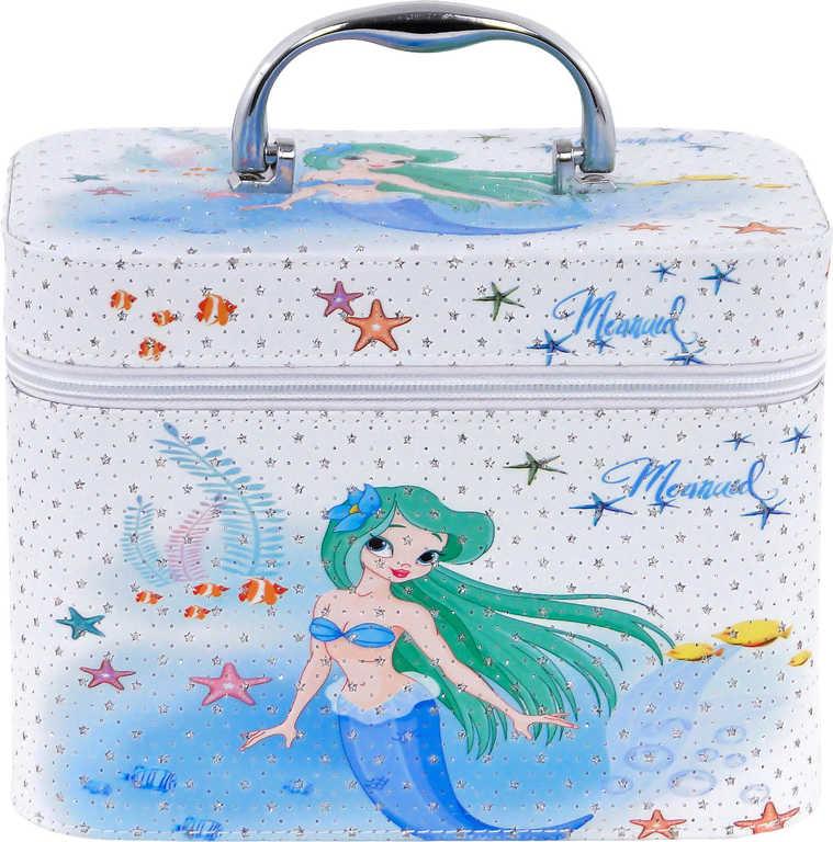 Kufřík dětský kosmetický mořská panna se zrcadlem na zip pro holčičky