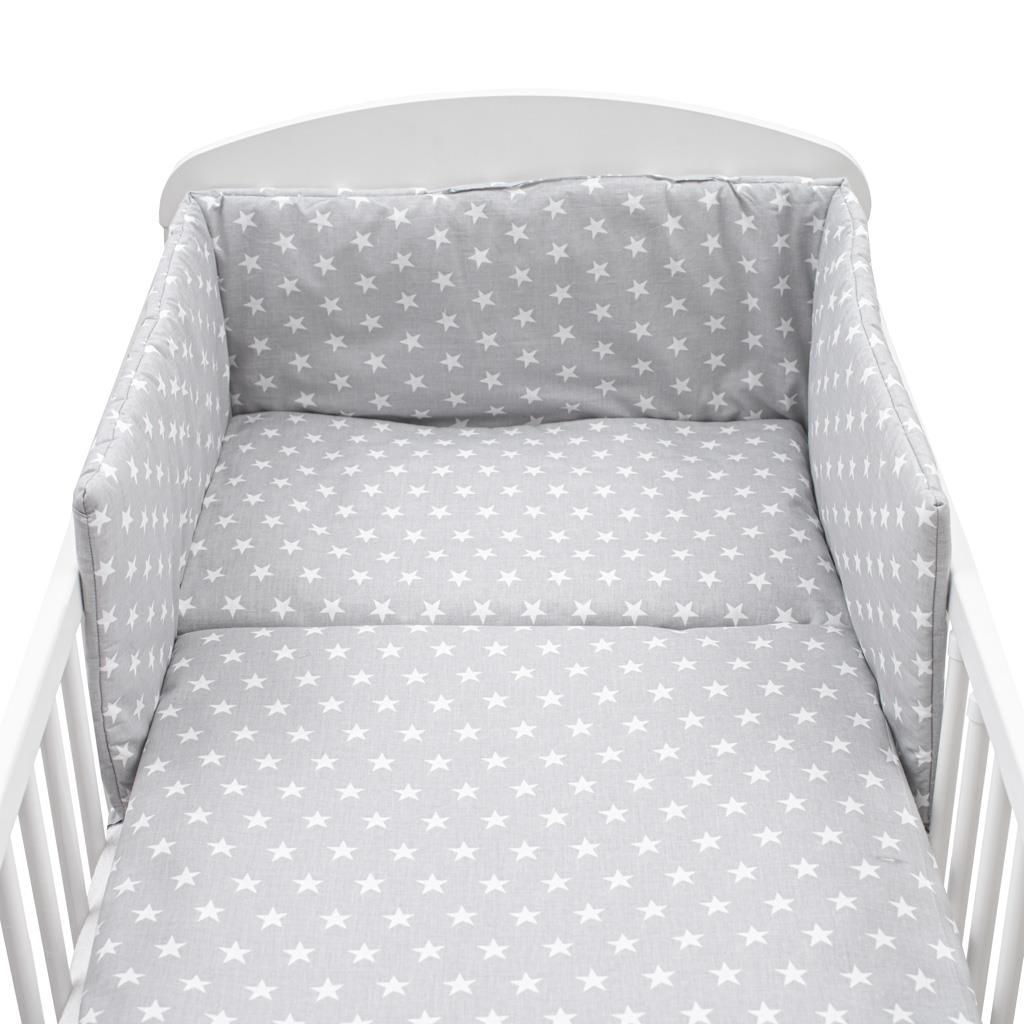 3-dílné ložní povlečení New Baby 90/120 cm - Hvězdičky šedé - šedá