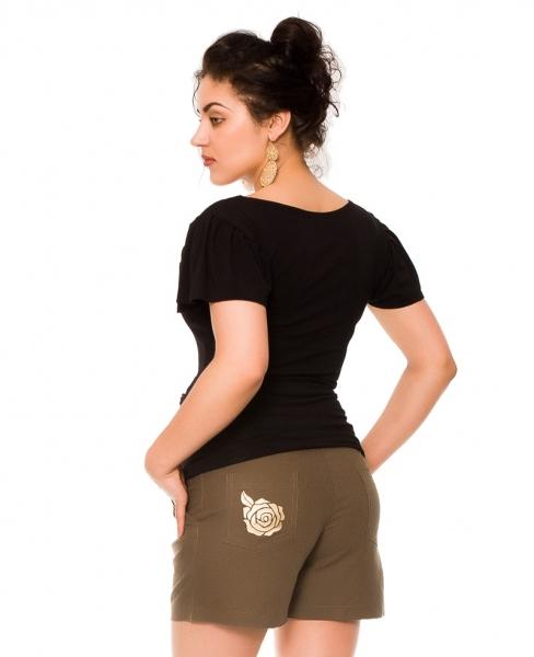 Be MaaMaa Těhotenské lněné kraťasy s růžičkou, khaki, vel.