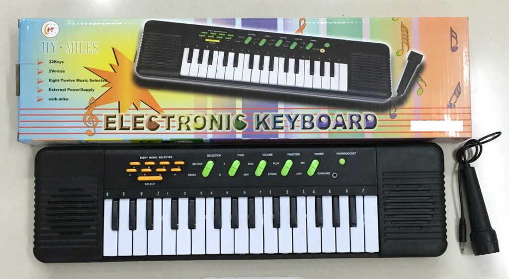 Piáno elektronické 50cm dětský keyboard 32kláves set s mikrofonem na baterie Zvuk