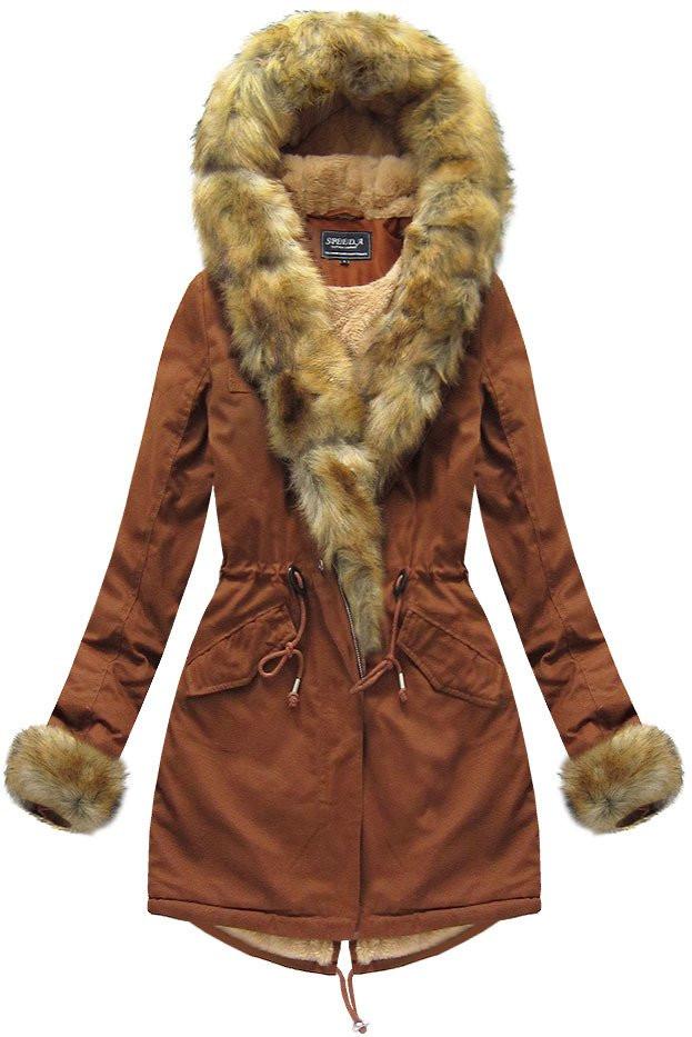 Karamelová dámská zimní parka s kožíškem W793BIG)