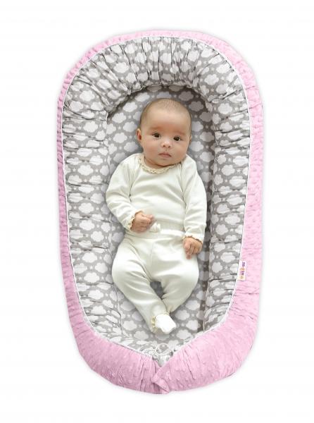 Maxi oboustranné hnízdečko s minky pro miminko Mráček v šedé/růžová