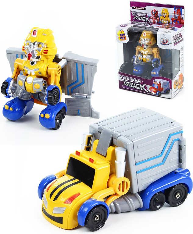 Robot plastový auto nákladní rozložitelné žluté na baterie Světlo Zvuk
