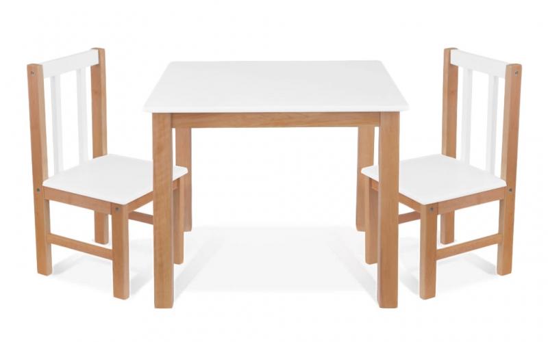 BABY NELLYS Dětský nábytek - 3 ks, stůl s židličkami - přírodní, bílá, D/01