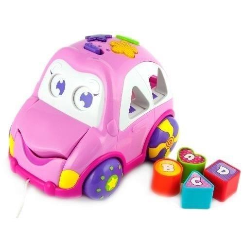 Dětská hračka, vkládačka Veselé autíčko - růžové