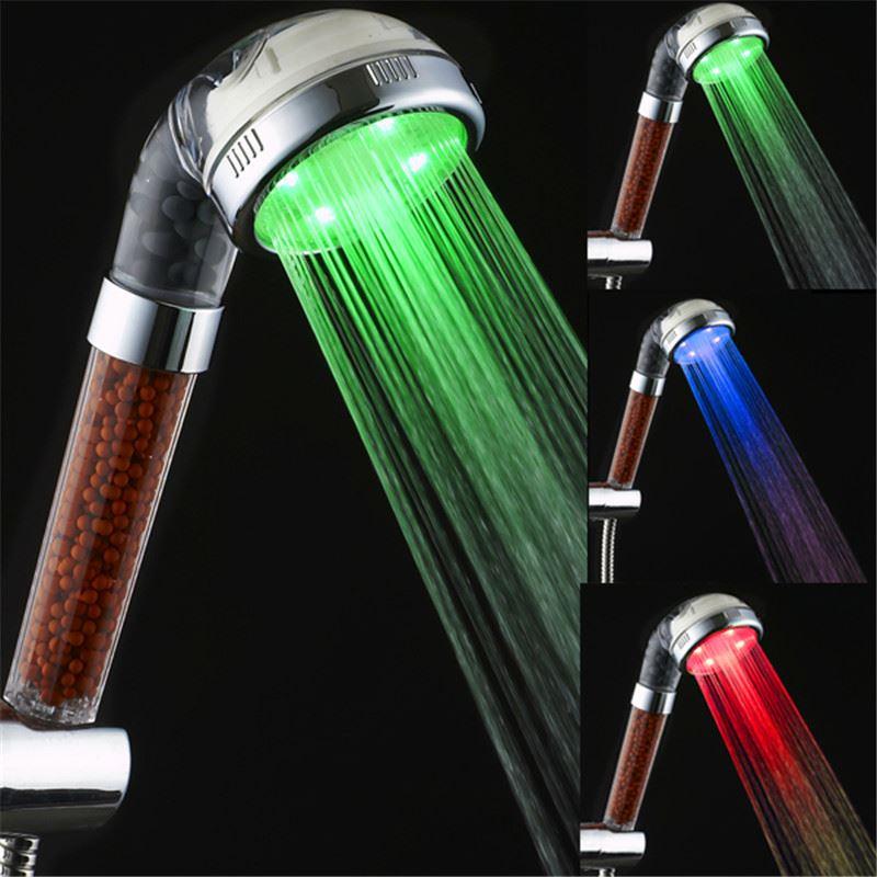 Barevná svítící LED sprcha s kamínky
