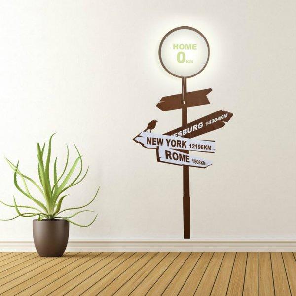 Samolepka a světlo na zeď - rozcestník s nápisem Domov