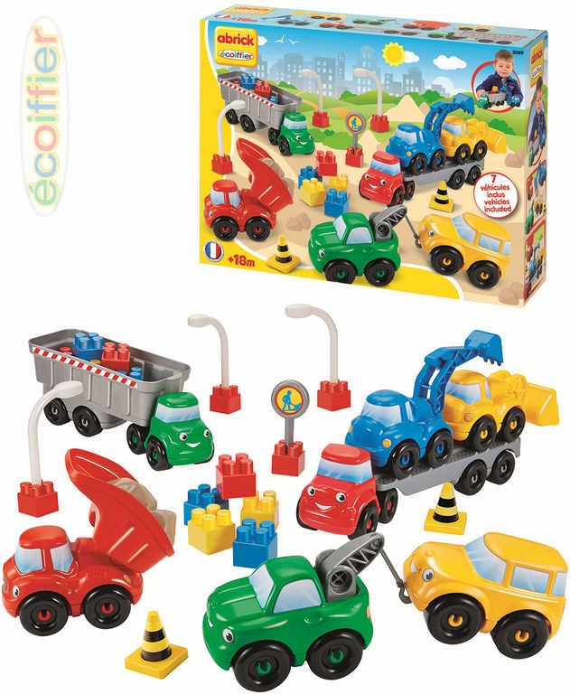 ECOIFFIER Baby kostky Abrick Stavební auta 7 ks s doplňky