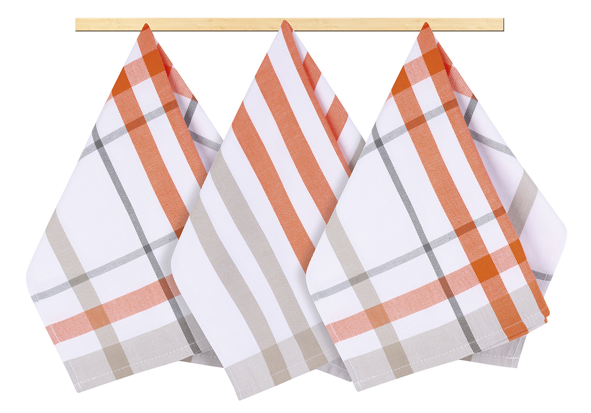 Kuchyňská utěrka 50x70cm káro oranžové