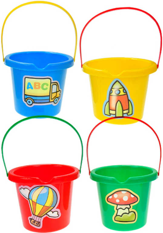Kbelík dětský plastový 10cm na písek 4 barvy nálevka na vodu s obrázkem